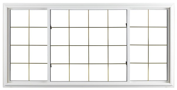 Exterior View | White | Thin Brass Glass Dividers | Quarter Half Quarter Slider (end pieces of glass slide toward center)
