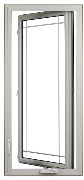 Interior View (open - hinge on right) | Beige | Perimeter Glass Dividers | Available Nested Crank Handle