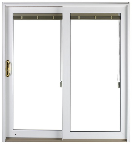Exterior View | White | No Glass Dividers | Polished Brass Handle | Blinds with Cord Operator
